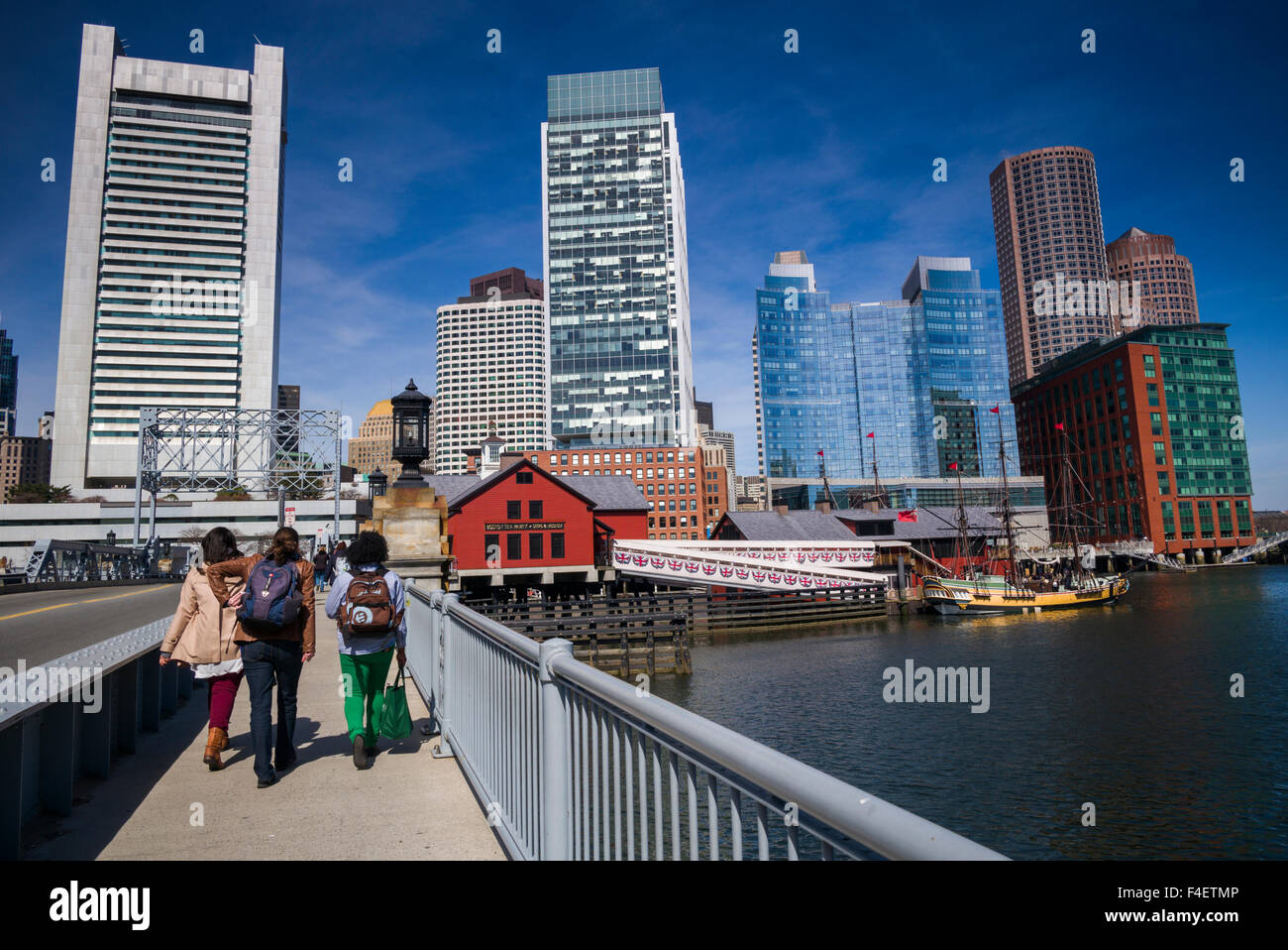 Massachusetts, Boston, Federal Reserve Bank, Intercontinental Hotel, and Boston Tea Party Museum - Stock Image