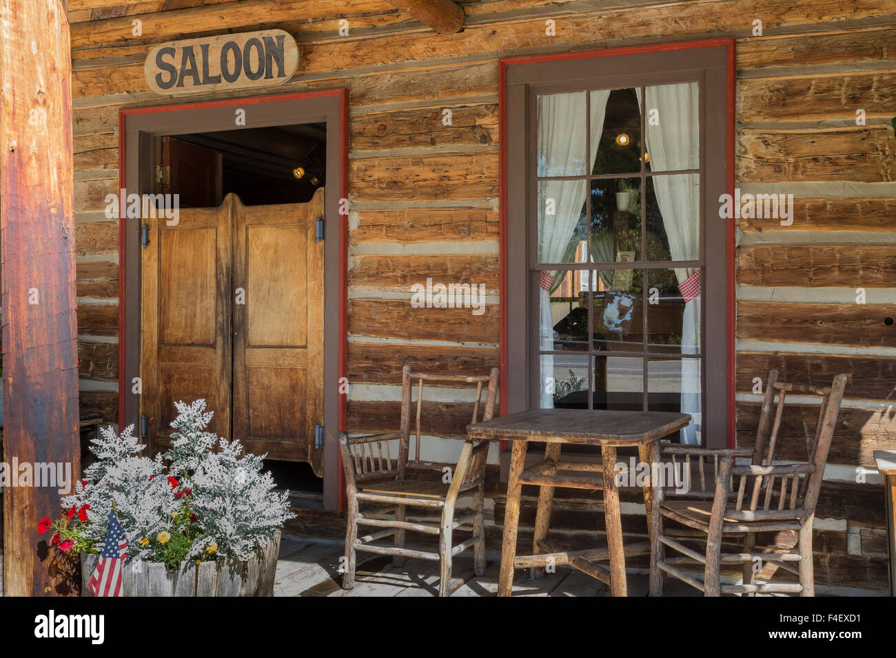 USA, Montana, Nevada City. Outside of vintage saloon. Credit as: Don Paulson / Jaynes Gallery / DanitaDelimont.com - Stock Image