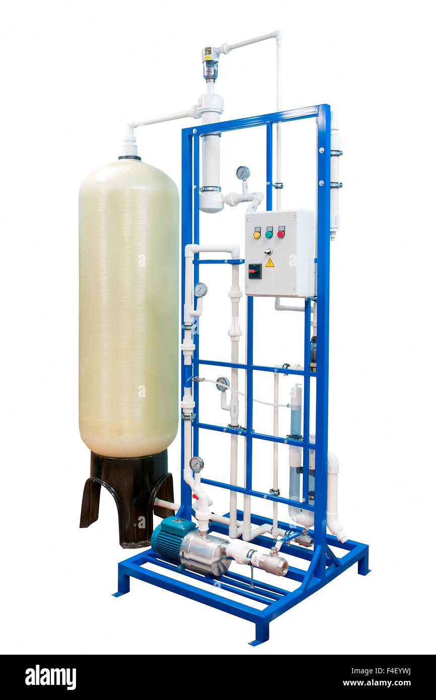 Water purification and ozonation equipment with control panel isolated on white with clipping path - Stock Image