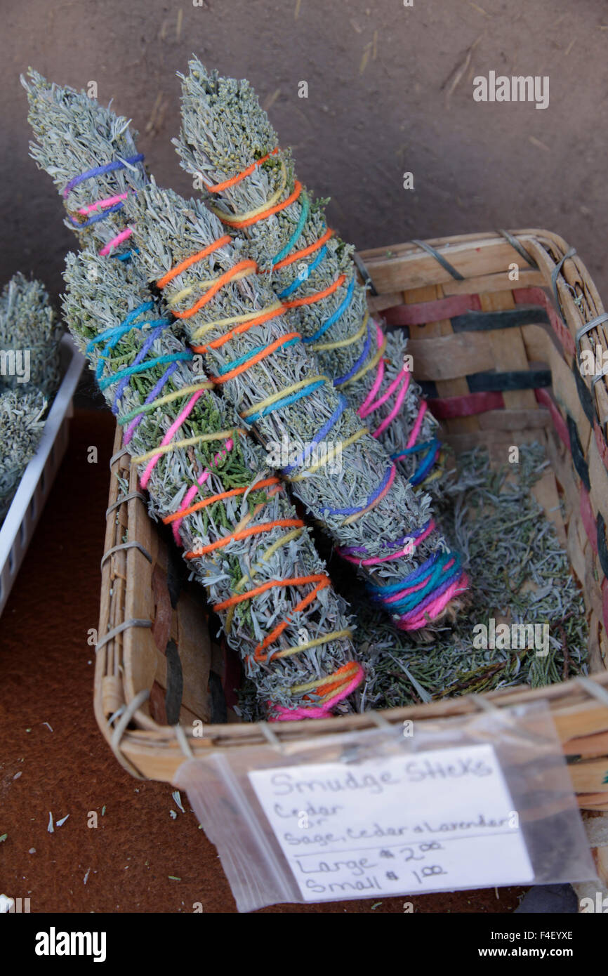 Smudge Sticks for sale at a local market. Taos Pueblo, New Mexico, USA. - Stock Image