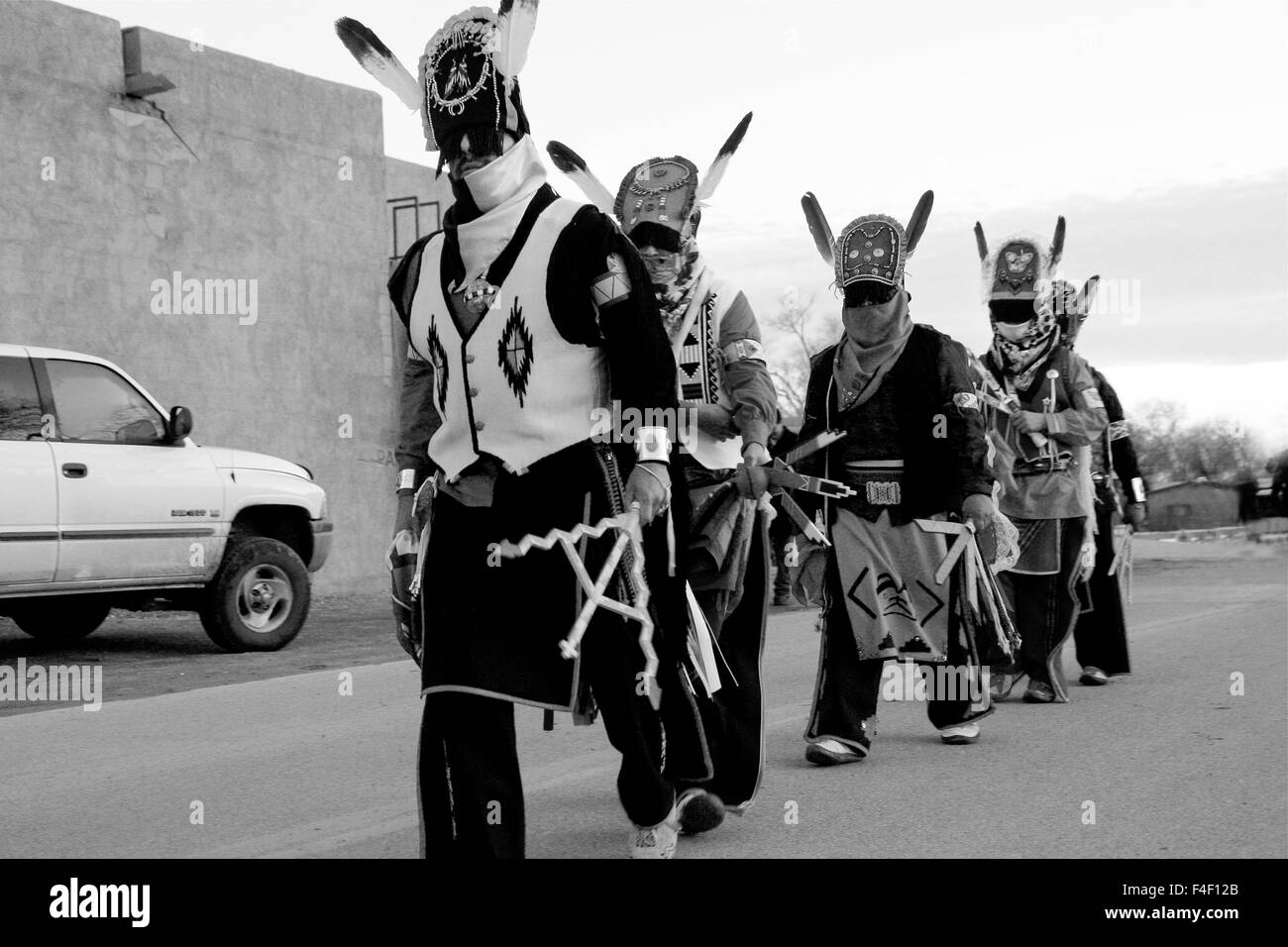 Ohkay Owingeh Pueblo, New Mexico. Matachine dancers, Christmas eve