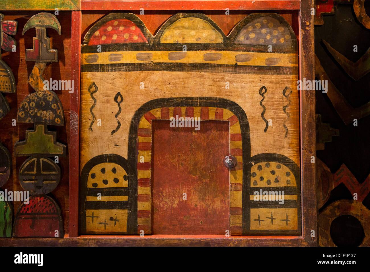 Depiction of a house, Santa Fe, New Mexico. USA - Stock Image