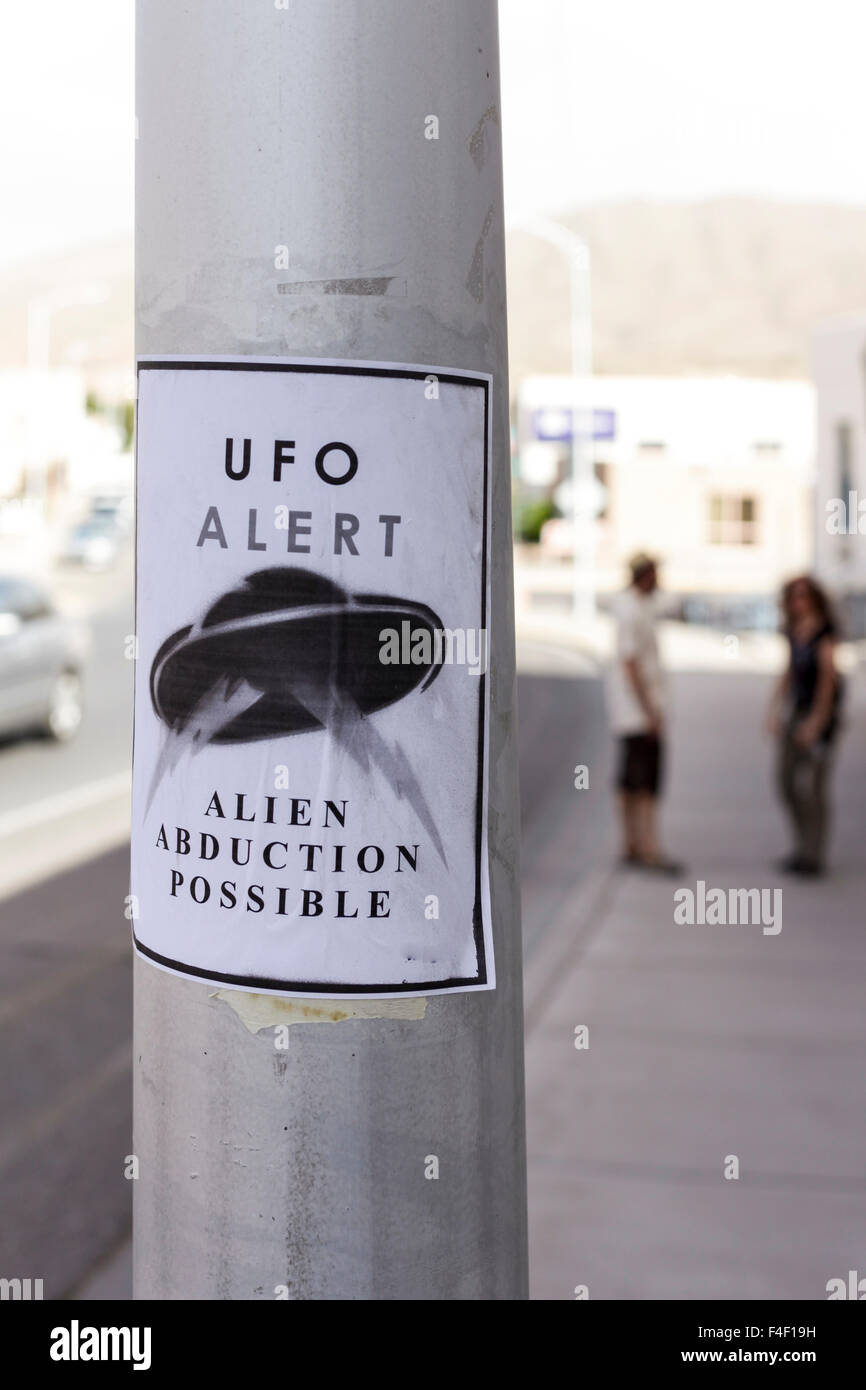 Warning sign for UFOs, Truth or Consequences, New Mexico, USA. - Stock Image