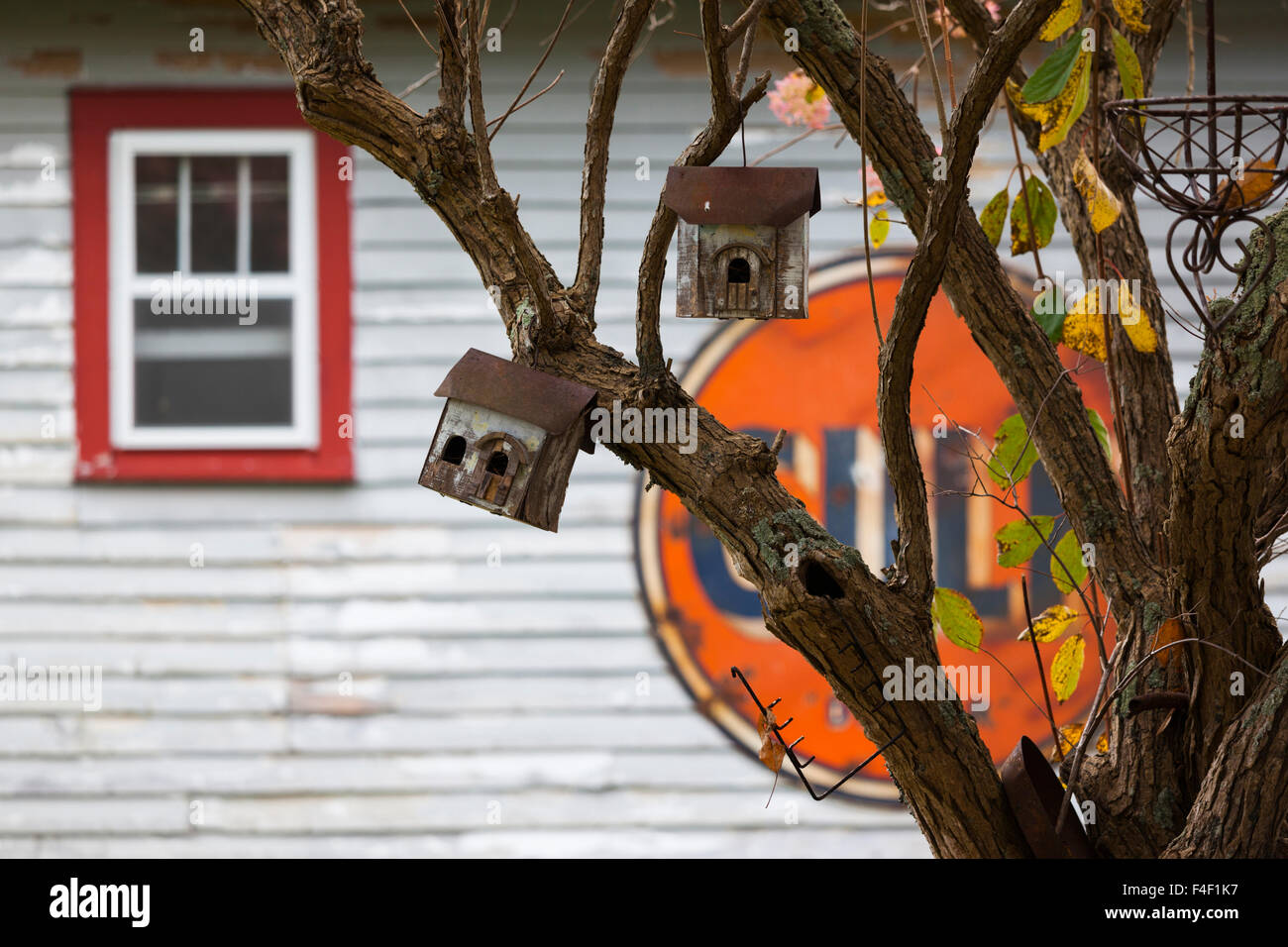 North Carolina, Linville, antique Gulf sign with birdhouses - Stock Image