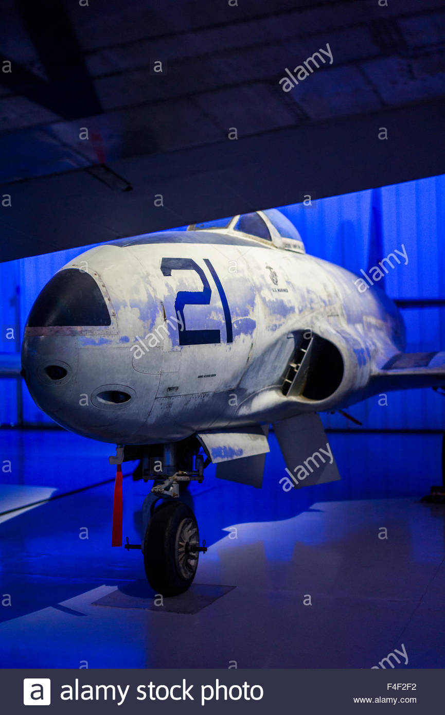 North Carolina, Charlotte, Carolina's Aviation Museum, interior, T-33 trainer aircraft - Stock Image