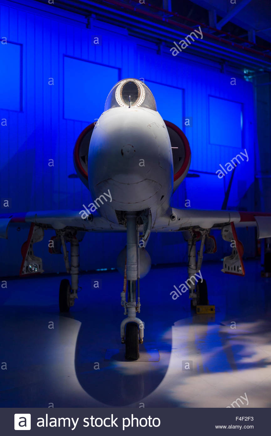 North Carolina, Charlotte, Carolina's Aviation Museum, interior, A-4 Skyhawk Naval jet - Stock Image