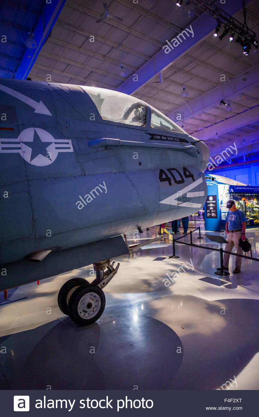 North Carolina, Charlotte, Carolina's Aviation Museum, interior, A-7 Corsair II, naval jet fighter bomber - Stock Image
