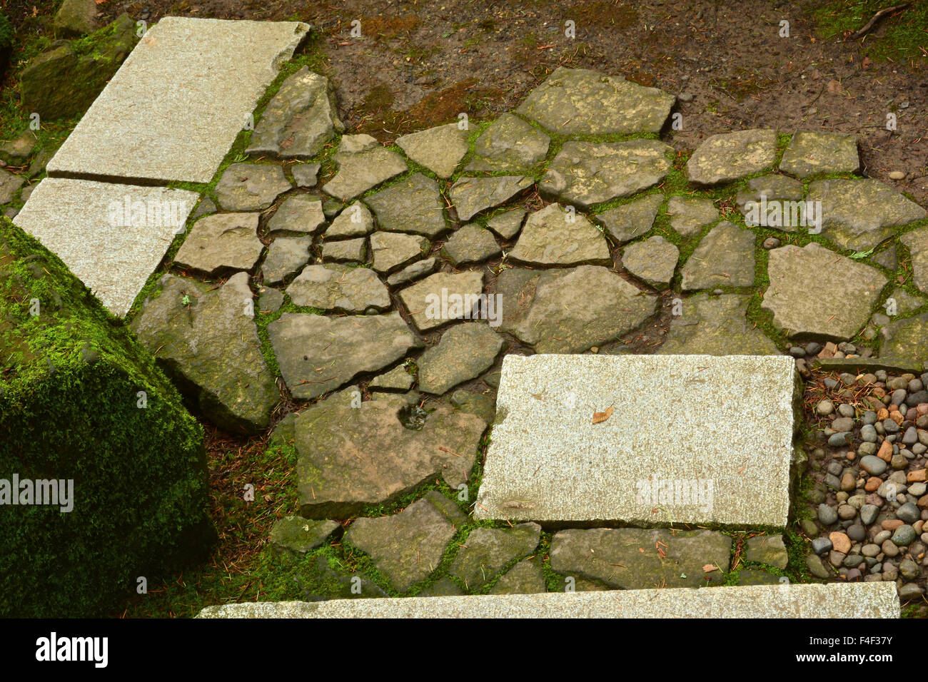 Stepping Stones, Mosaic, Wild Garden, Portland Japanese Garden Stock ...