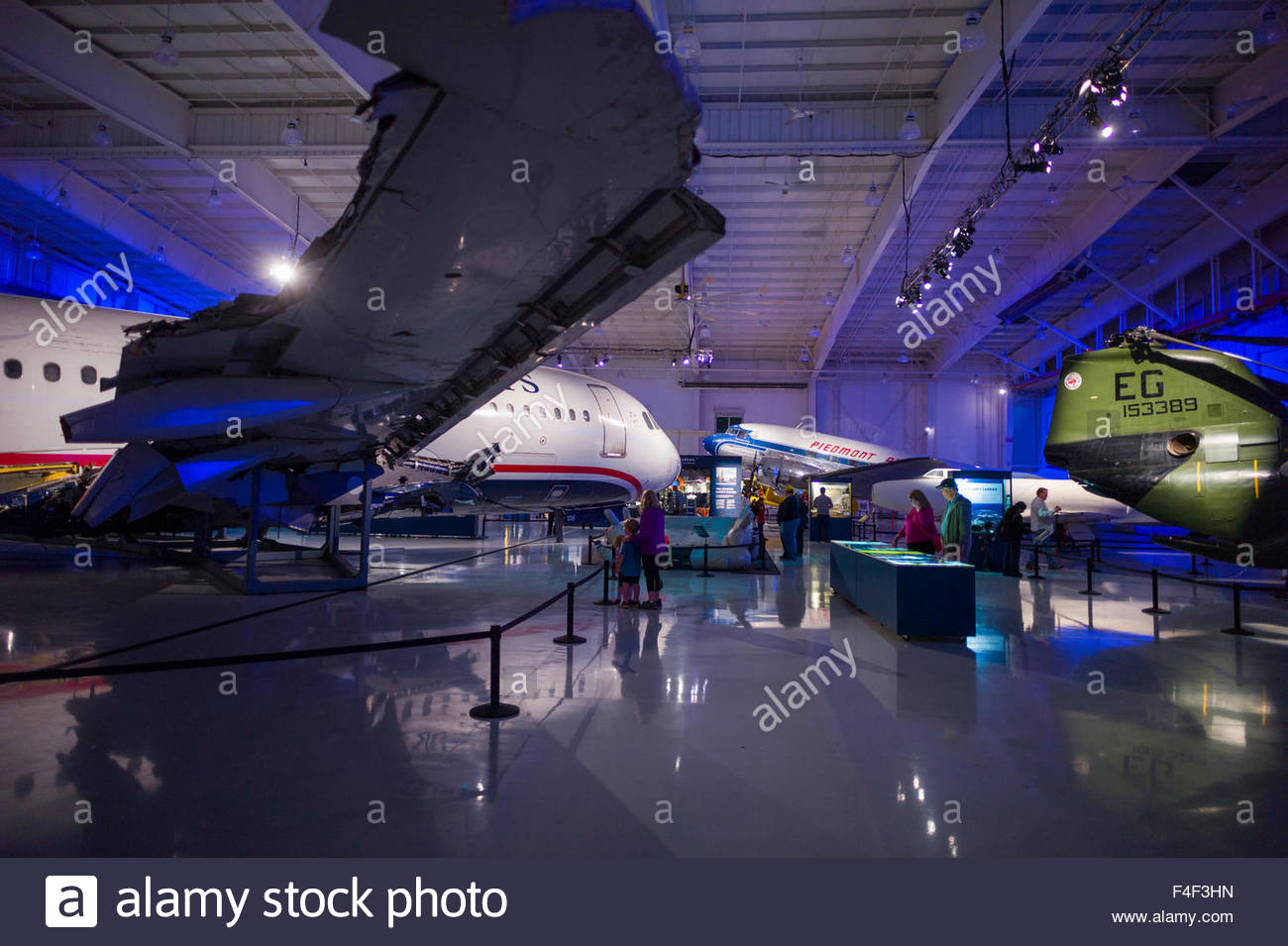 North Carolina, Charlotte, Carolina's Aviation Museum, interior, display for US Airways Fight 1549 that crash - Stock Image