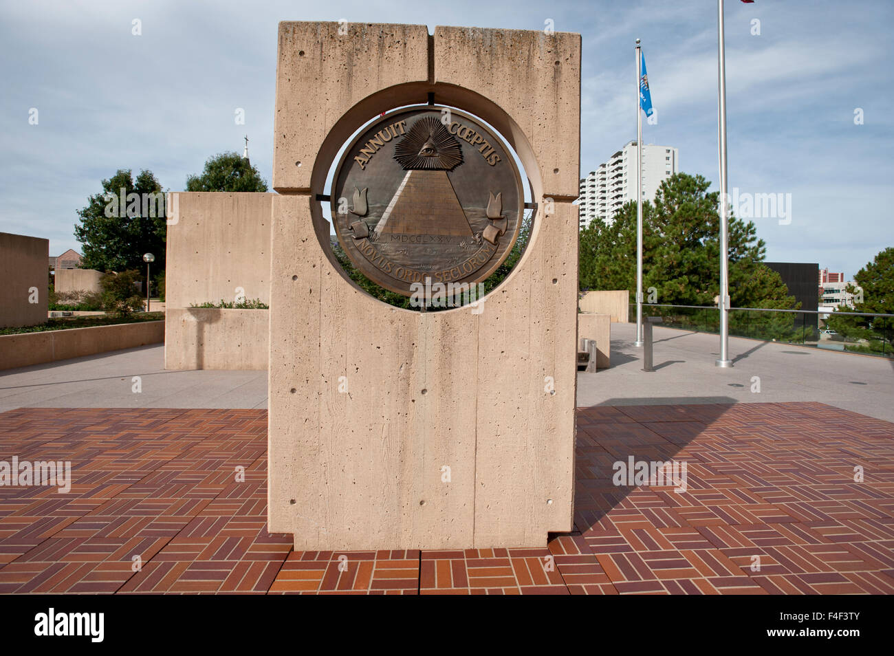 USA, Oklahoma, Oklahoma City, Alfred P. Murrah Federal Building Plaza and Memorial Overlook Informational Pedestal. Stock Photo