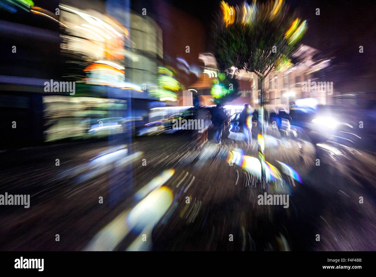 blur city lights night street Prague motion, Czech Republic - Stock Image