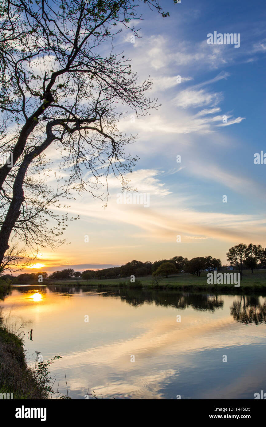 Sunset on the Pedernales River in LBJ State Park in Stonewall, Texas, USA. Stock Photo