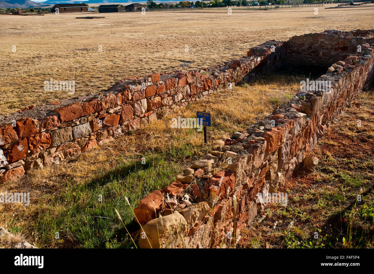 USA, Fort Davis National Historic Site, Texas, Foundation Ruins of Mess Hall and Kitchen. - Stock Image