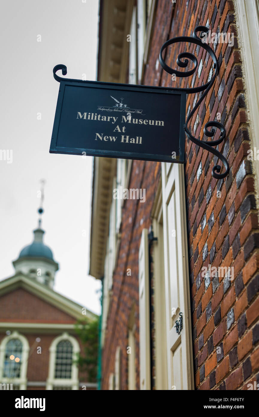 USA, Pennsylvania, Philadelphia, Independence Mall area, sign for the Military Museum at New Hall - Stock Image