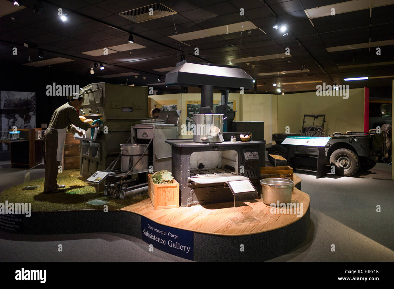 USA, Virginia, Fort Lee, US Army Quartermaster Corps Museum at Fort Lee, army field kitchen - Stock Image