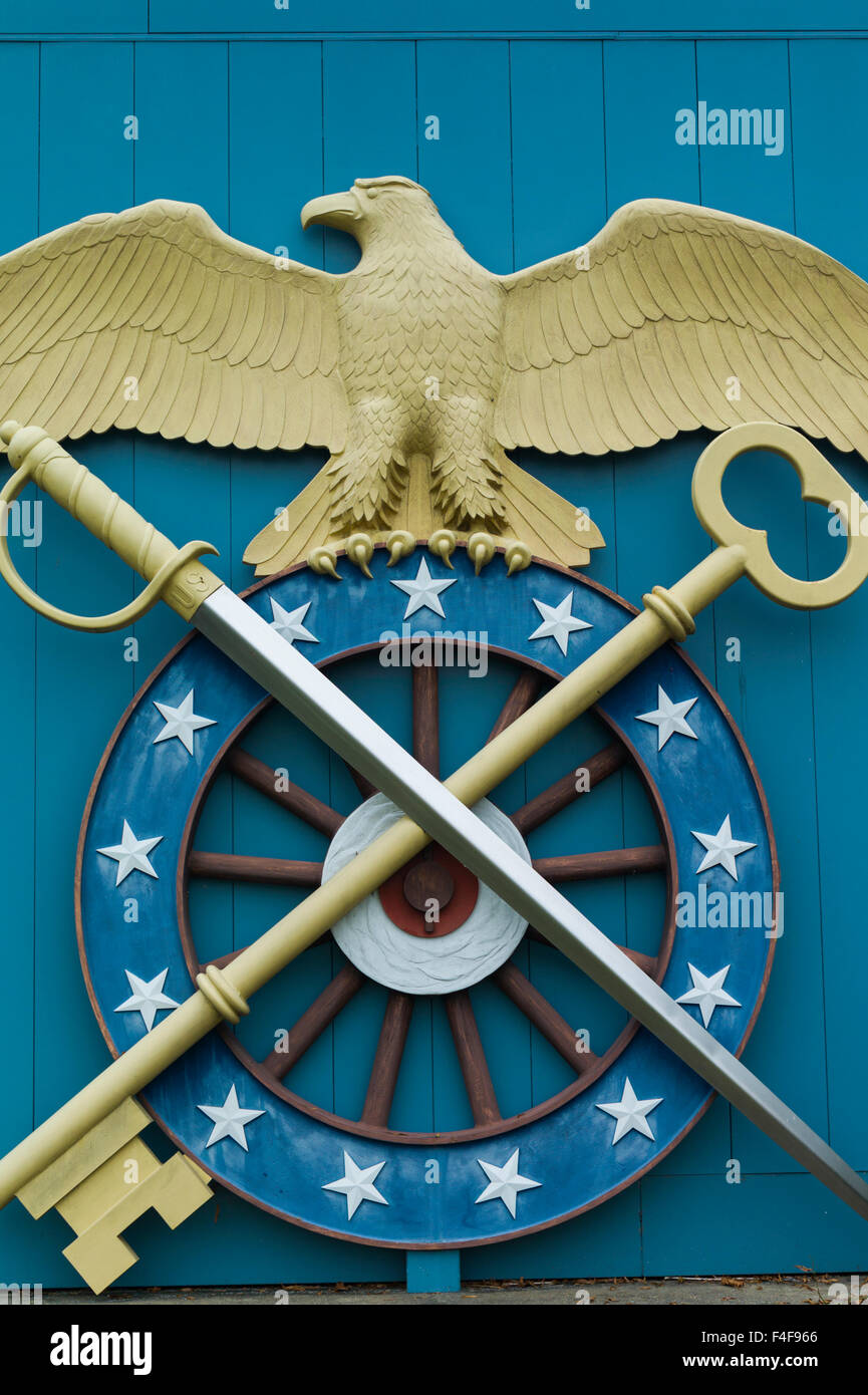 USA, Virginia, Fort Lee, US Army Quartermaster Corps Museum at Fort Lee, emblem of the Quartermaster Corps - Stock Image