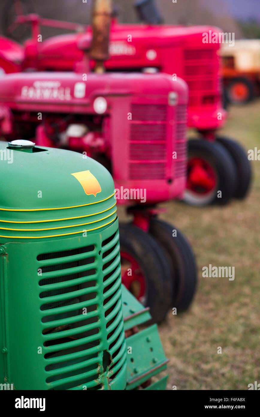 Manchester Center, antique farm tractors - Stock Image