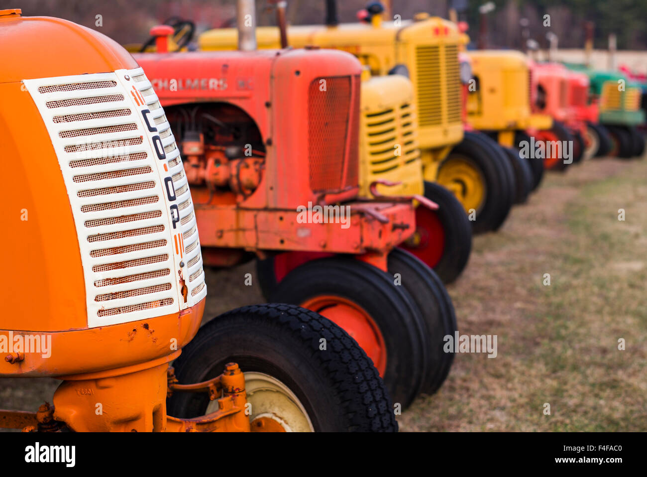 Manchester Center, antique farm tractors - Stock Image
