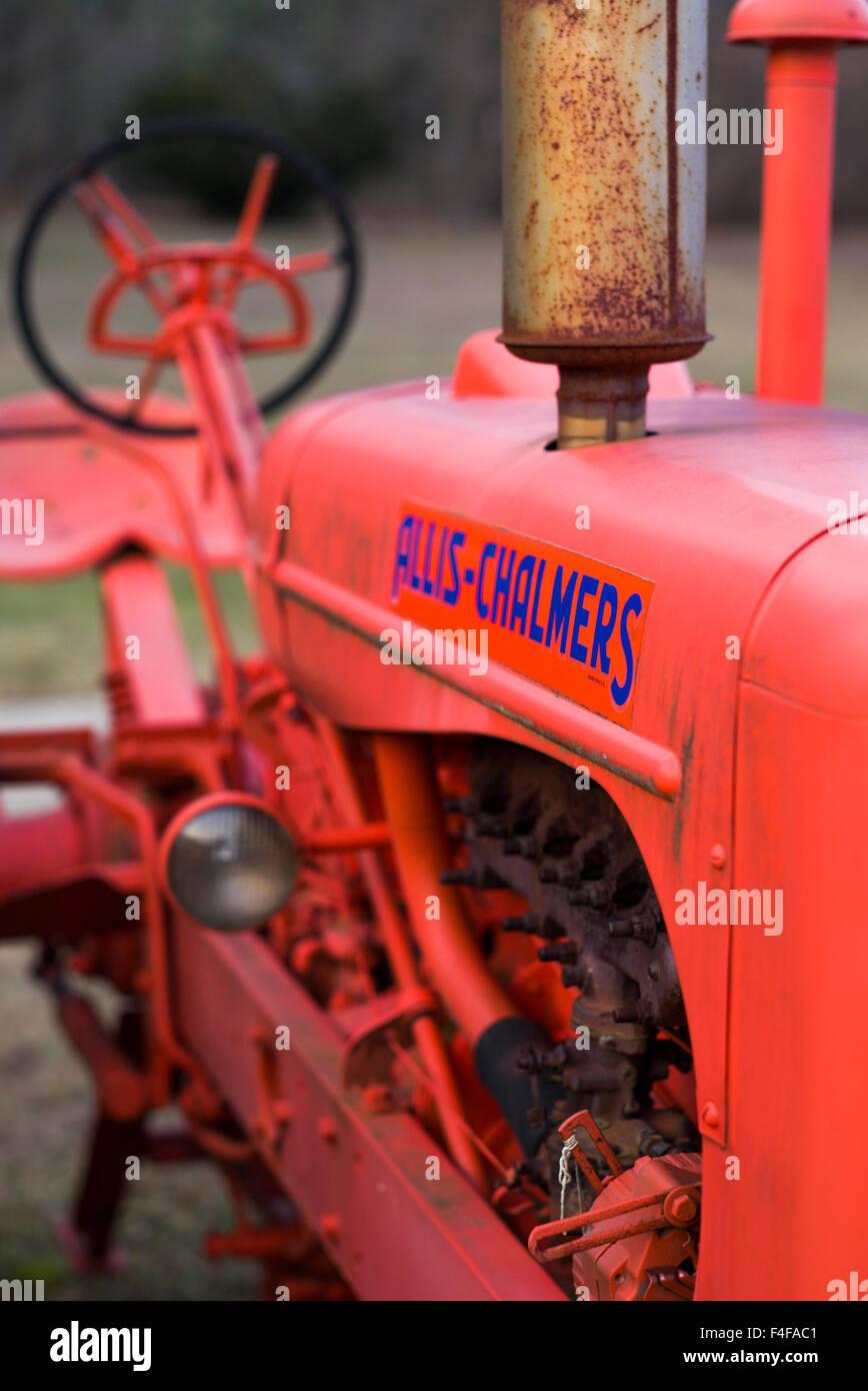 Manchester Center, antique farm tractor - Stock Image