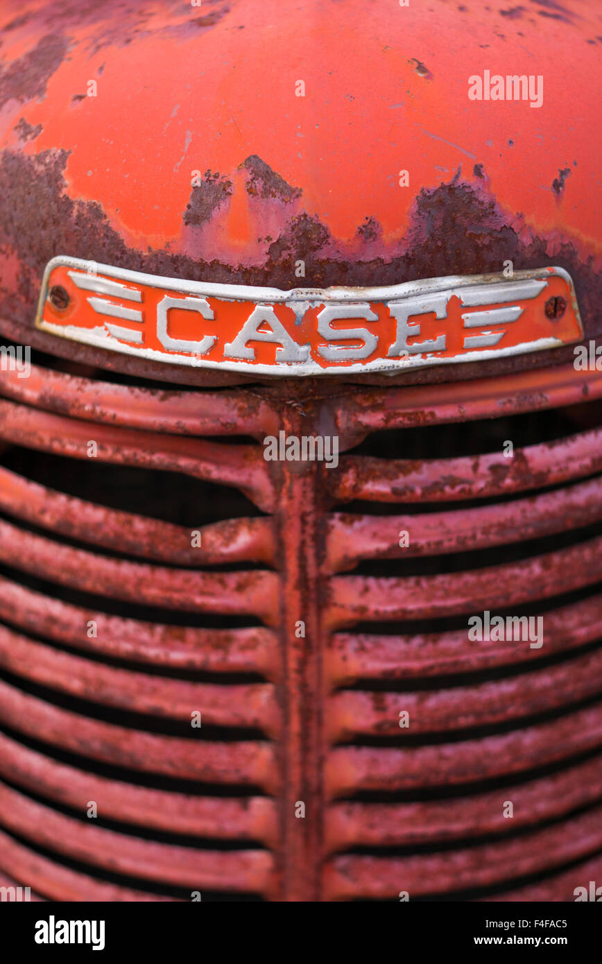 Manchester Center, antique farm tractor - Stock Image