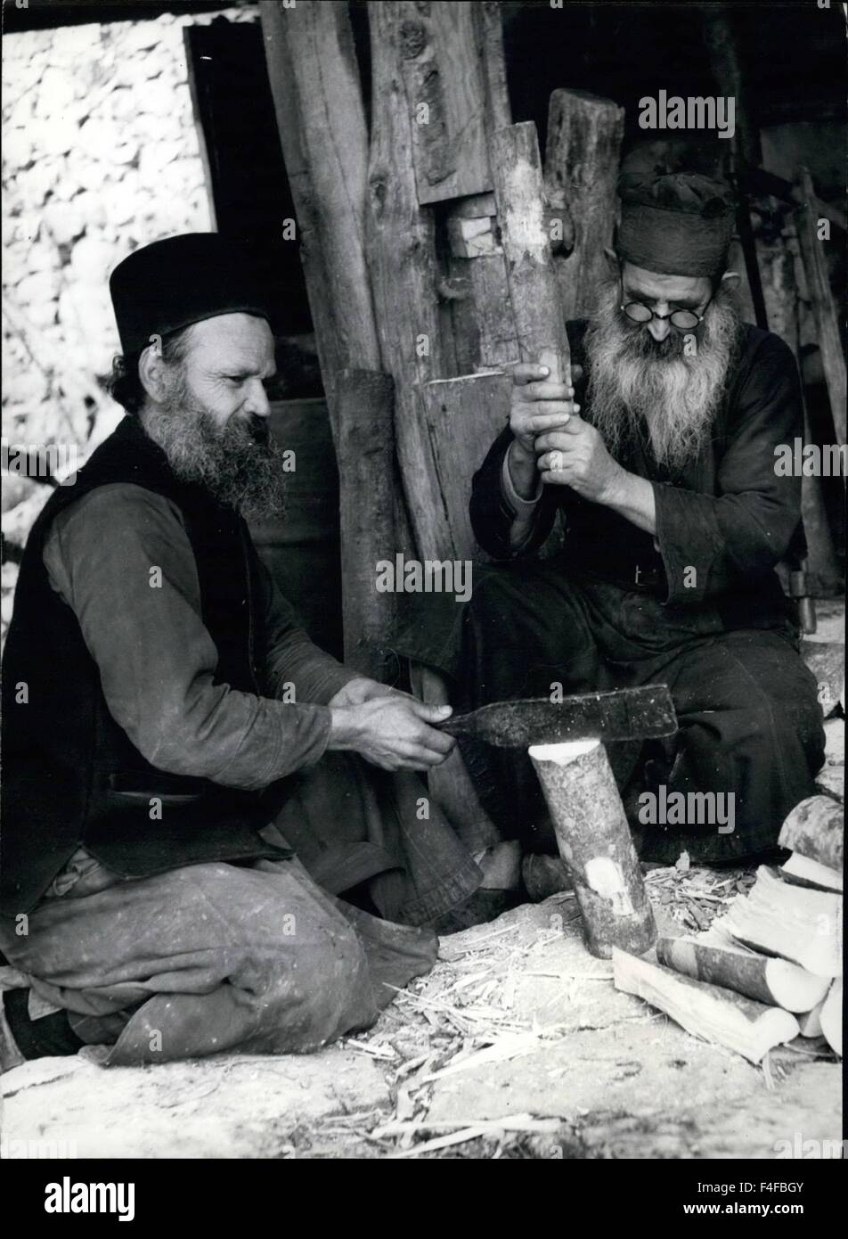 Athos Monastery Republic. 24th Feb, 1958. These are lower-class monks whose bedraggled clothes contrast strongly - Stock Image
