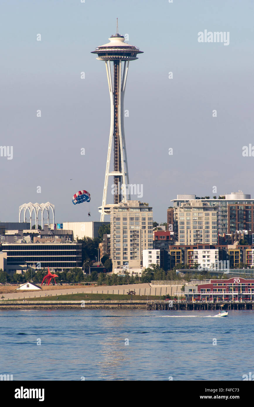 USA, Washington State, Seattle. Sculpture Park, Space Needle and waterfront provide dramatic vista from Parasail Stock Photo