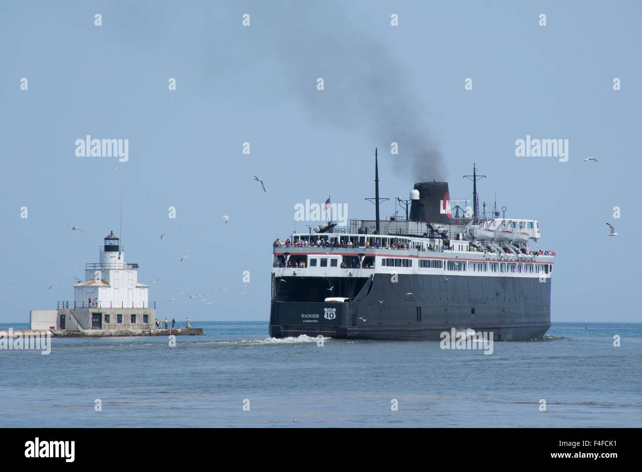 Wisconsin, Lake Michigan, Manitowoc. S.S. Badger, only coal-fired passenger steamship in the US, circa 1952. Manitowoc - Stock Image
