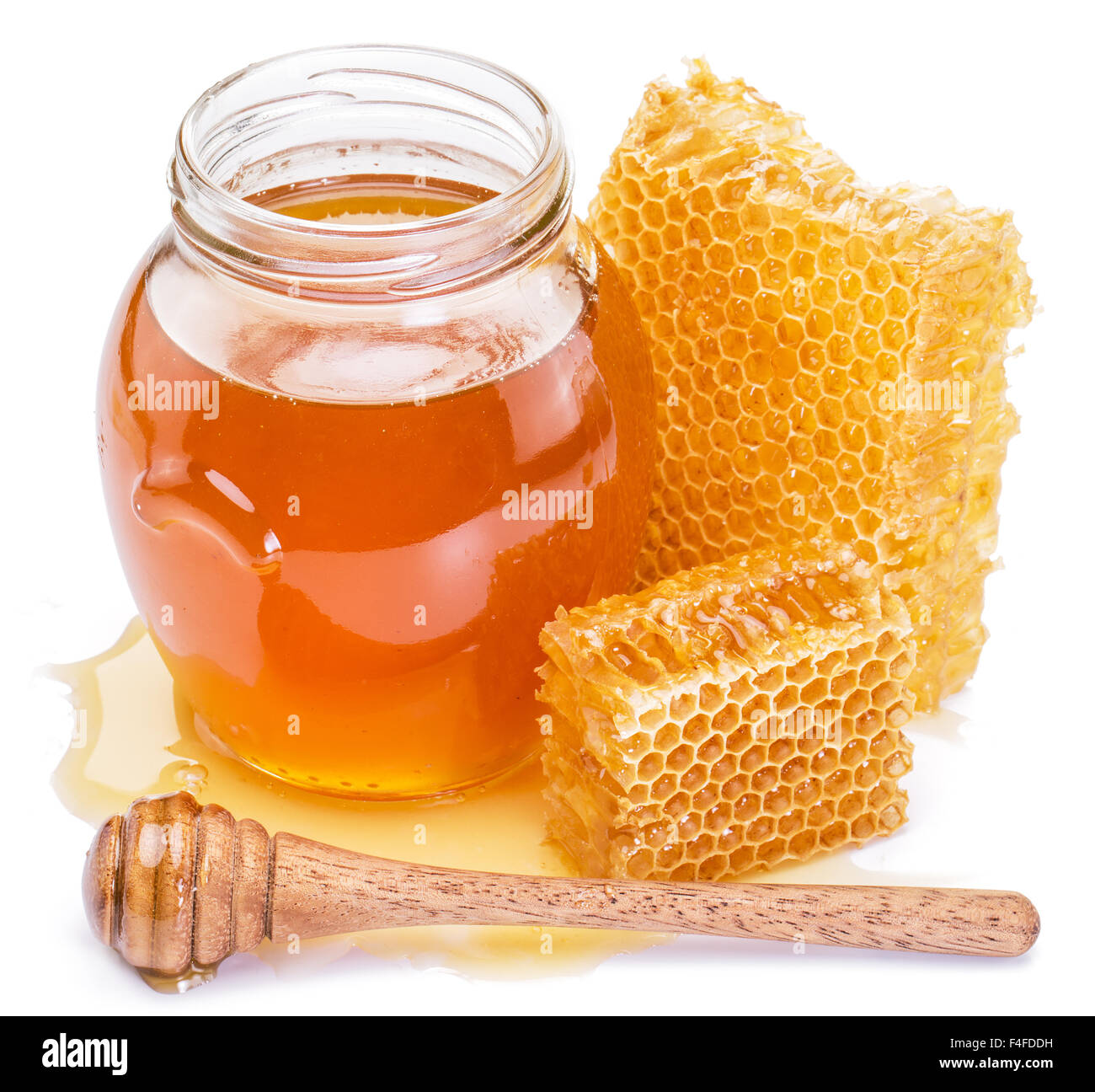 Honeycomb and pot of fresh honey. High-quality picture contains clipping paths. - Stock Image