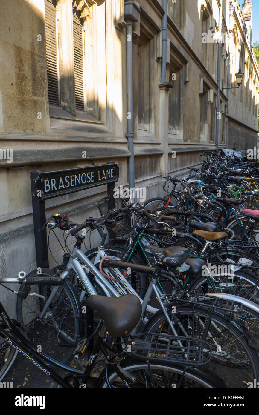 A visit to the historic University City of Oxford Oxfordshire England UK Bikes in Brasenose Lane - Stock Image