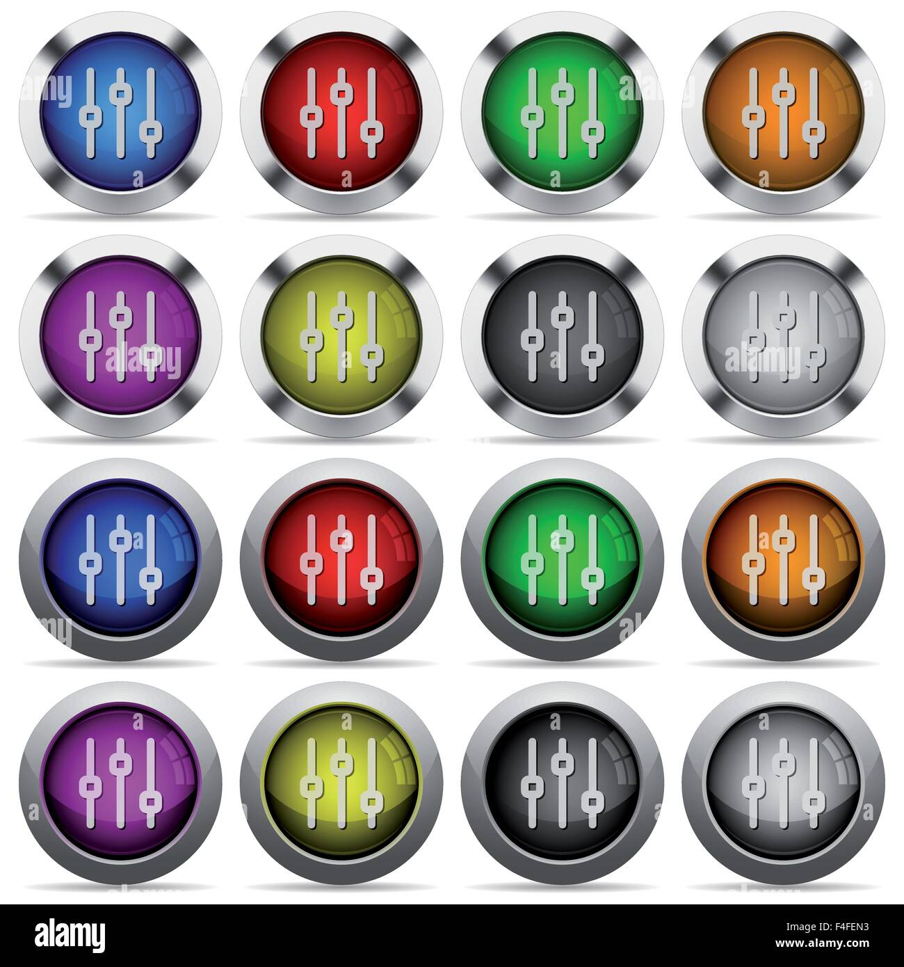 Set of 16 round glossy color Vertical adjustment web buttons with shadows. Fully organized layer structure and color - Stock Image