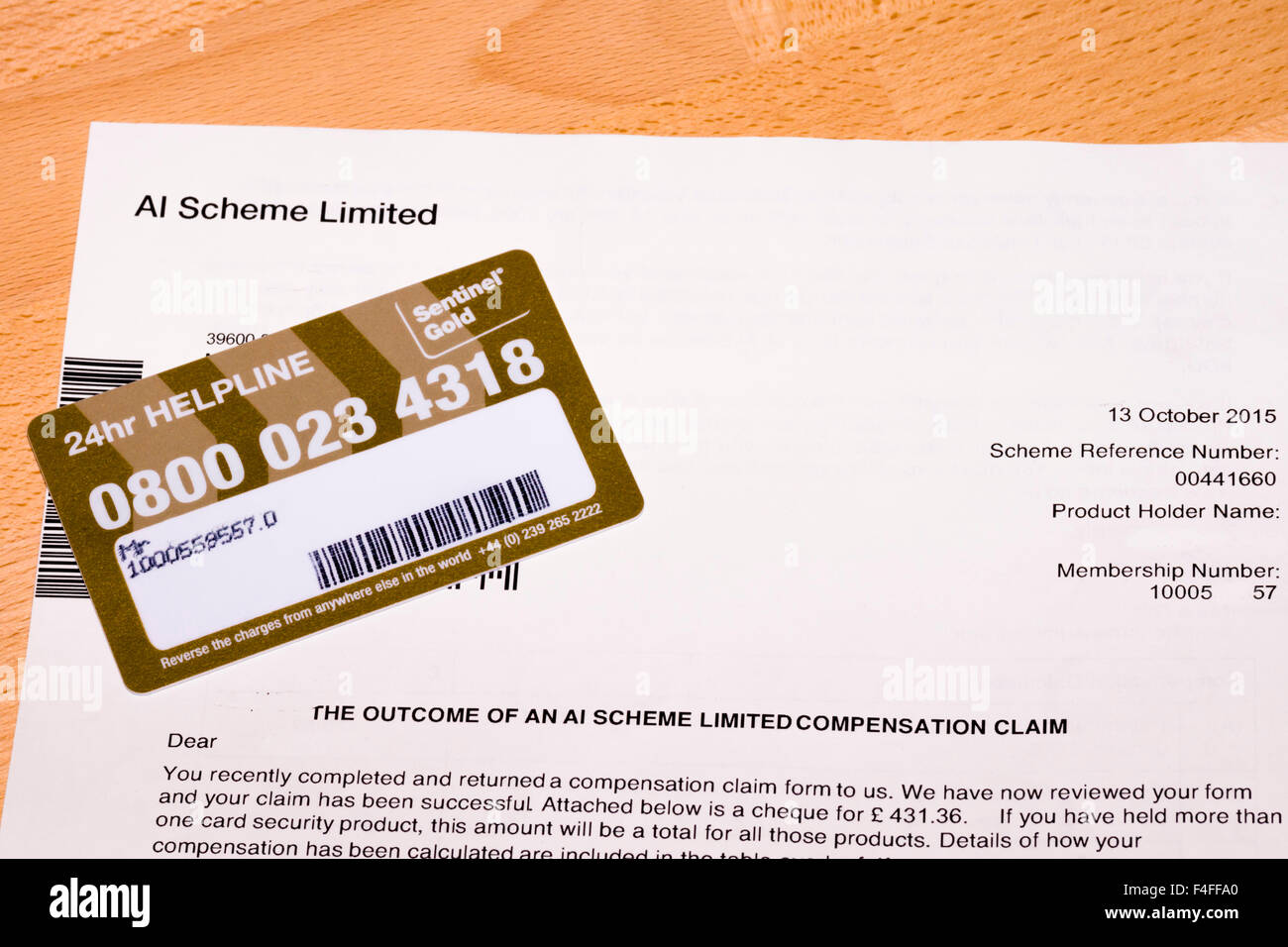 Sentinel Gold Card Protection compensation Payment - Stock Image