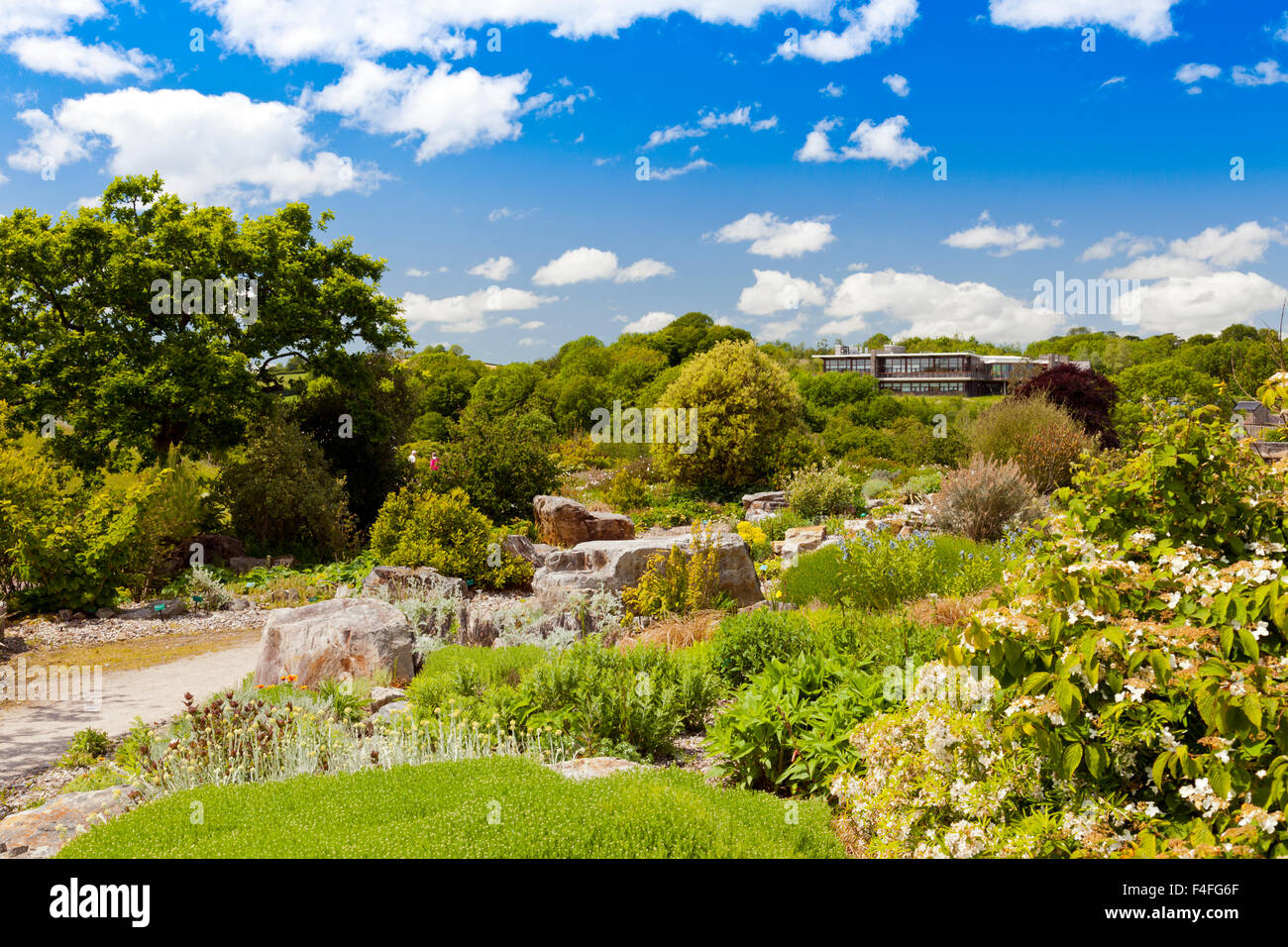 The rock garden at the National Botanical Gardens of Wales, Carmarthenshire, Wales, UK - Stock Image
