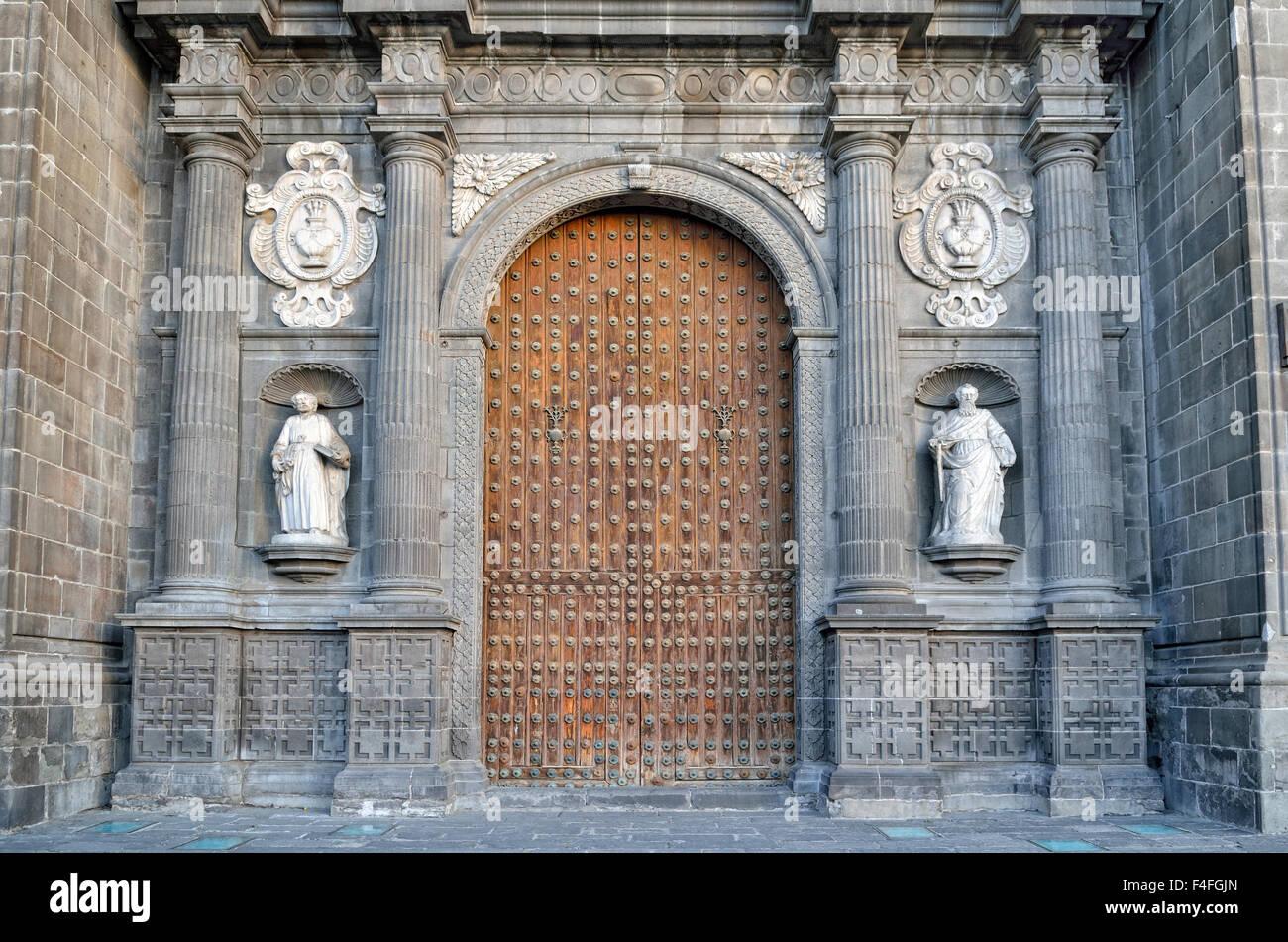 Main portal of the cathedral, Heroica Puebla de Zaragoza, Puebla, Mexico - Stock Image