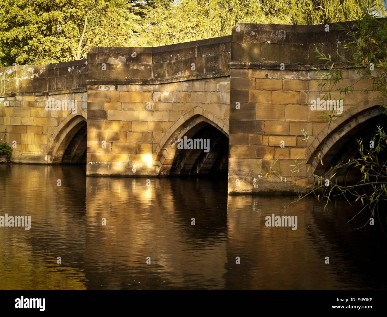 Bakewell bridge and reflections - Stock Image