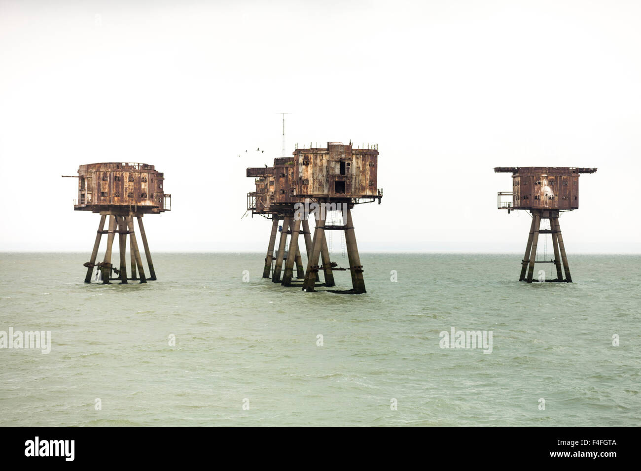 Maunsell Sea Forts, now abandoned WW2 anti aicraft defences in the Thames Estuary off the North Kent Coast near - Stock Image