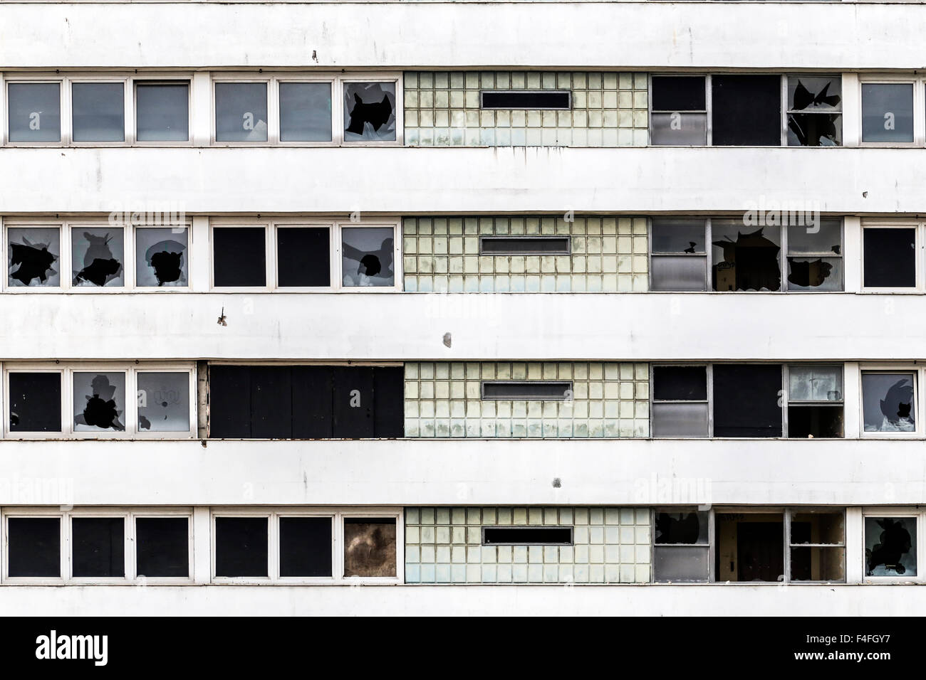 Abandoned, derelict highrise apartment residential tower block building MDU detail - Stock Image