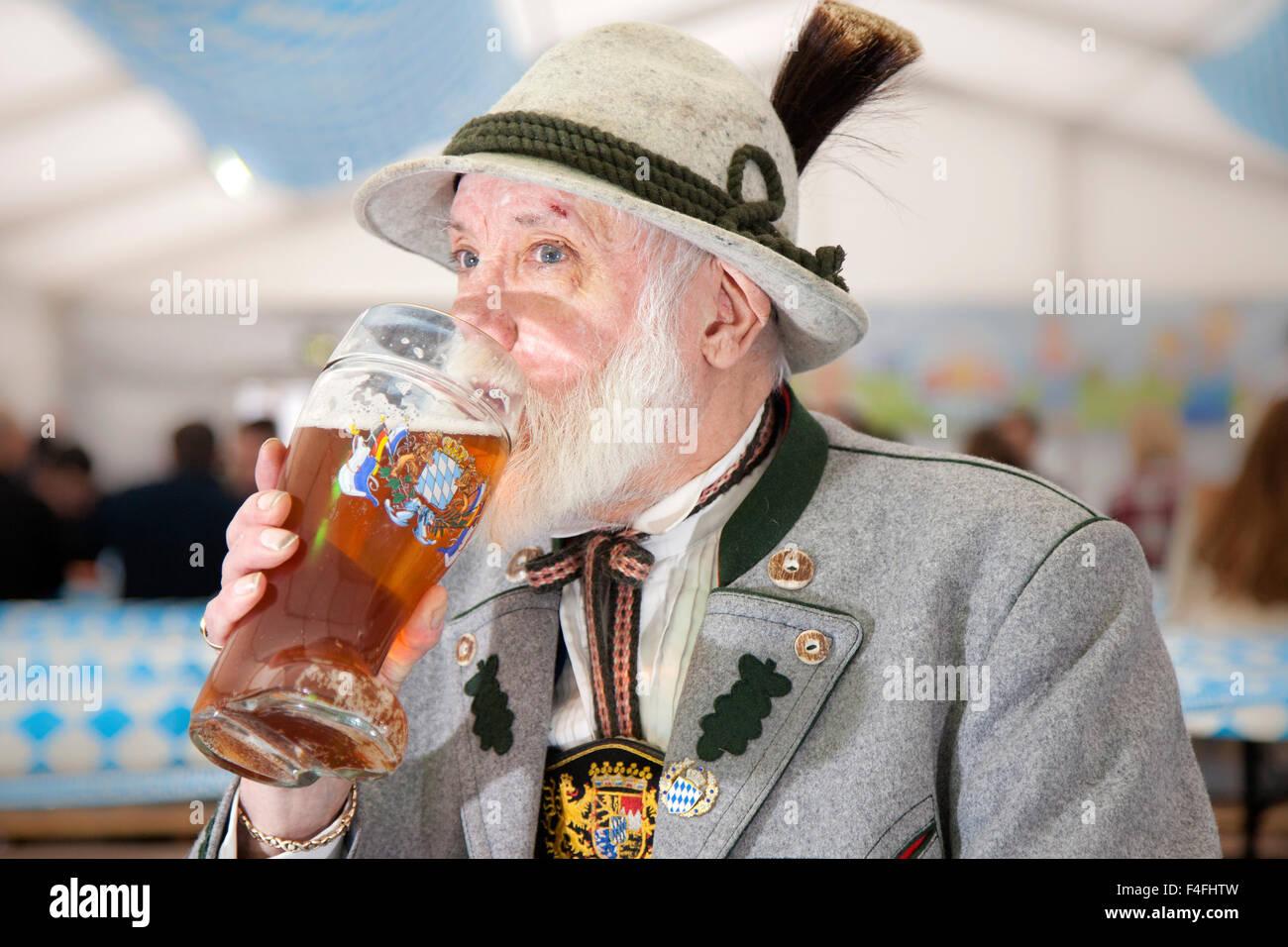 Liverpool, Merseyside, Uk. 17 Oct 2015.  Jack Hans Dieter Sherlock who was born in 1947 of German ancestry, happily - Stock Image