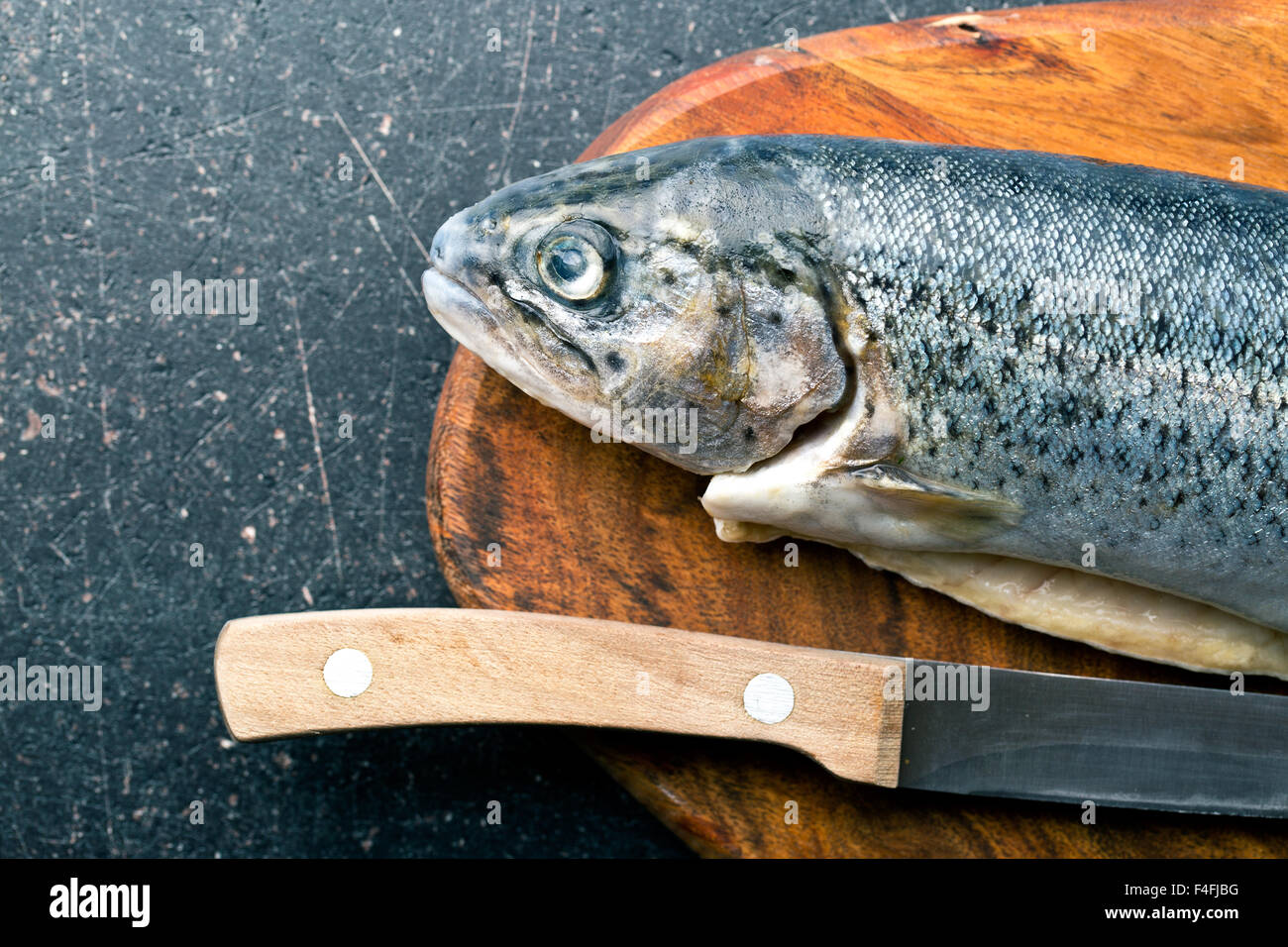 the gutted trout old kitchen table - Stock Image