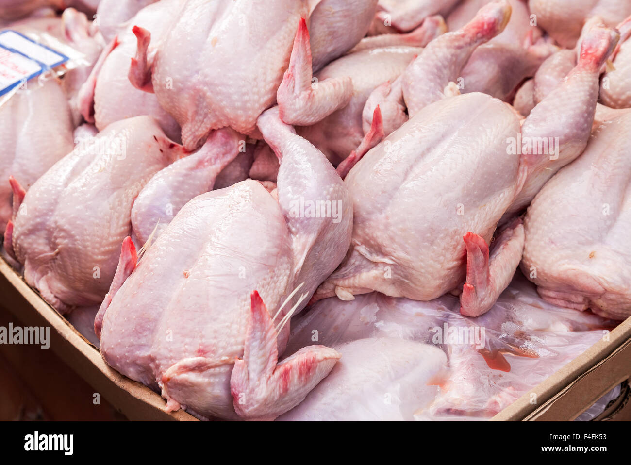 Meat of poultry ready to sale at the farmers market - Stock Image