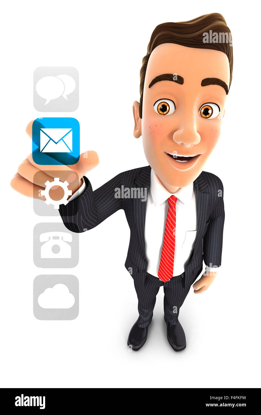 3d businessman applications interface, isolated white background Stock Photo