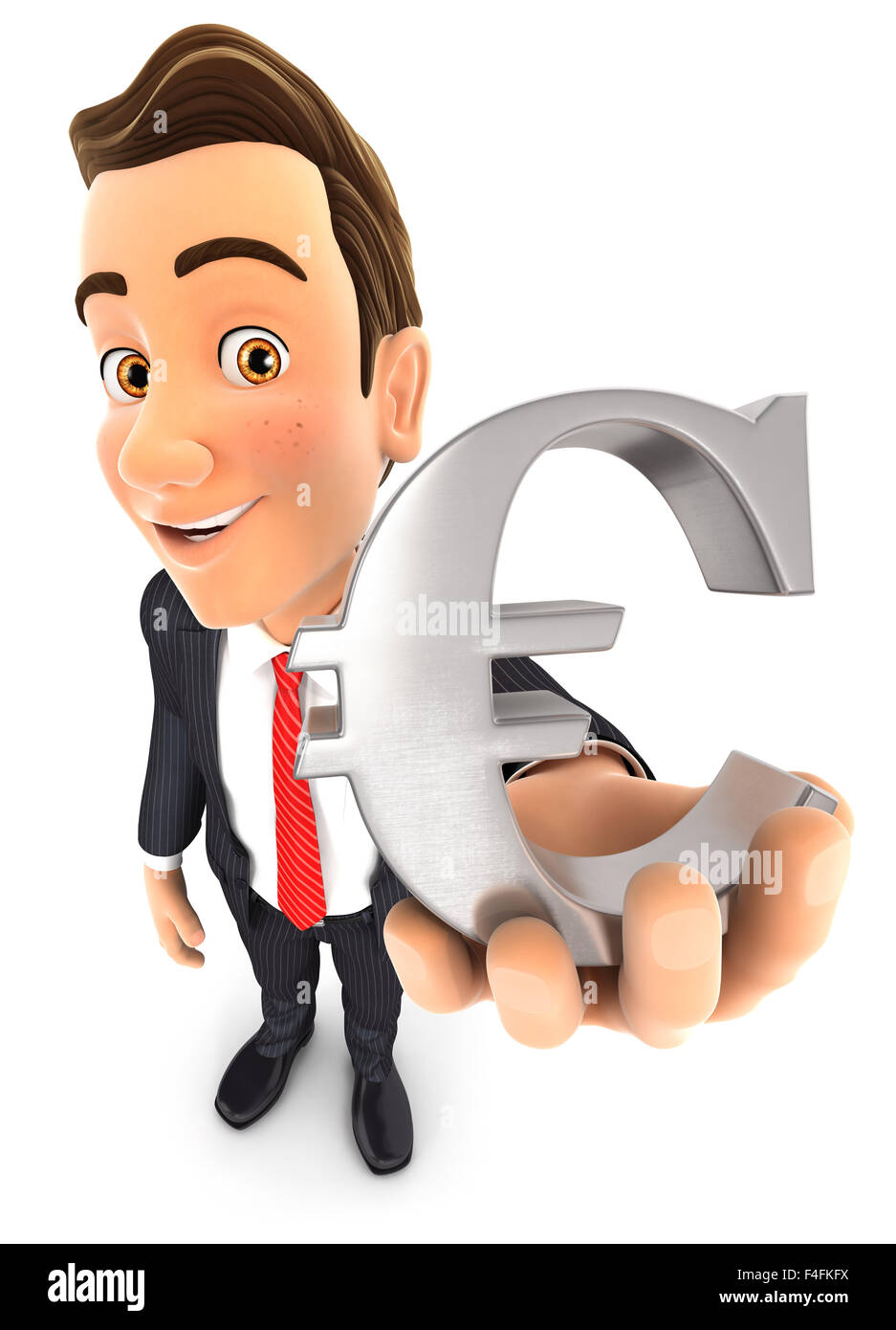 3d businessman holding the euro sign, isolated white background Stock Photo