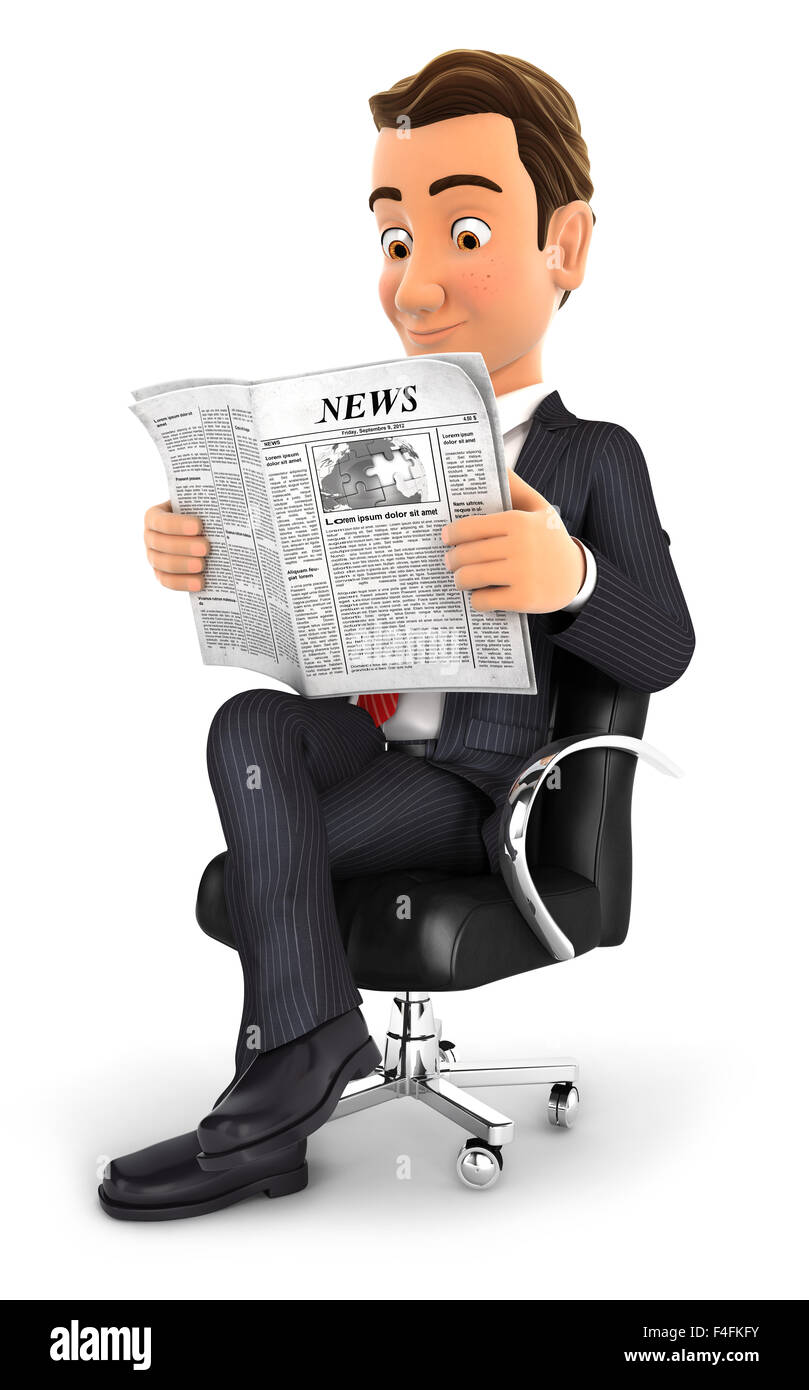 3d businessman sitting on chair and reading a newspaper, isolated white background Stock Photo