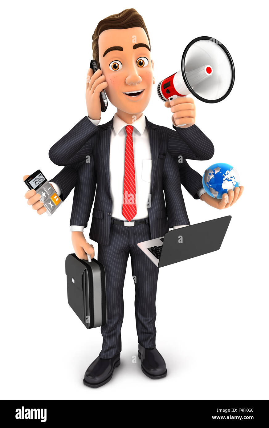 3d businessman multitasking with six arms, isolated white background Stock Photo