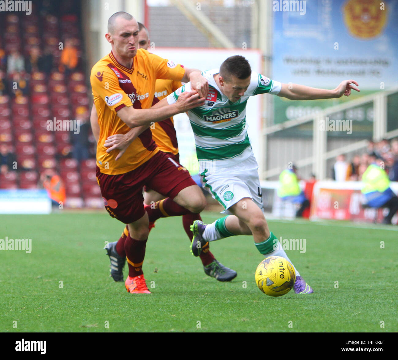 Fir Park, Motherwell, Scotland. 17th Oct, 2015. Scottish Premier League. Motherwell versus Celtic. Joe Chalmers - Stock Image