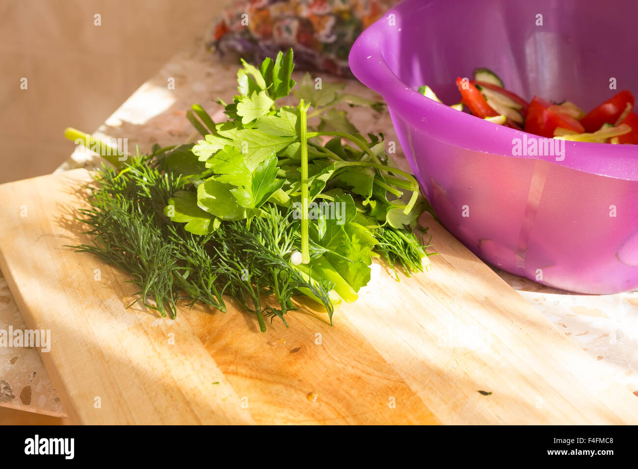 Parsley And Dill On Wooden Cutting Board Preparation Of Vegetable
