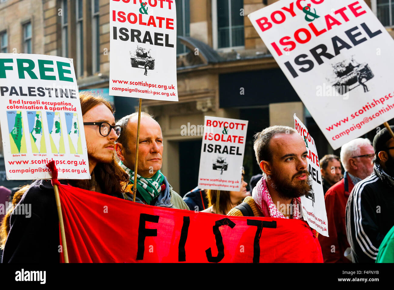 A number of members and supporters of the Scottish Palestine Solidarity Campaign attended a rally in Glasgow city - Stock Image