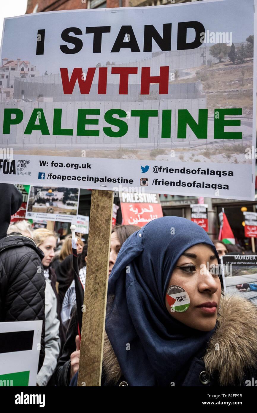 London, UK. 17th October, 2015.  'Day of Rage' Protest for Palestine opposite Israeli Embassy Credit:  Guy Corbishley/Alamy - Stock Image