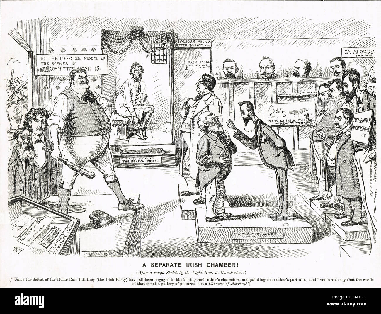 Irish Home rule defeat cartoon 1894 - Stock Image