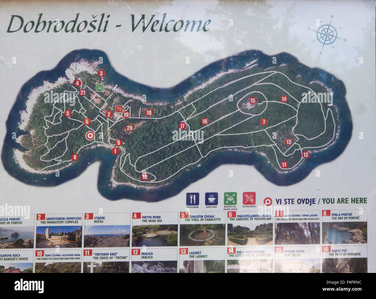 Map of Lokrum island, 15. min. from the old town in Dubrovnik Croatia by boat, a green oasis with footpaths, cliffs - Stock Image