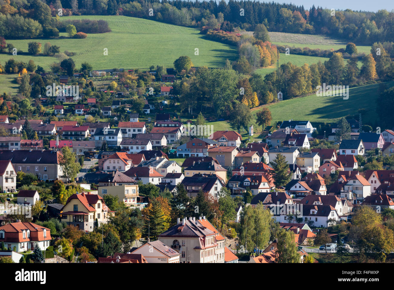 Autumn view of Cesky Krumlov, South Bohemia, Czech Republic from Castle - Stock Image